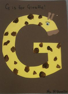 I design animals for each letter of the week--G is for Giraffe