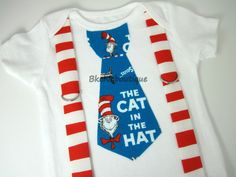 Cat in the Hat Book Cover Blue Tie with Red Squiggly Stripe Suspenders Onesie or Shirt. $20.00, via Etsy.