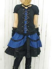 Cross Neck Puff Sleeve Cutsew Black x Blue. See more at http://www.cdjapan.co.jp/apparel/deorart.html #harajuku #punk