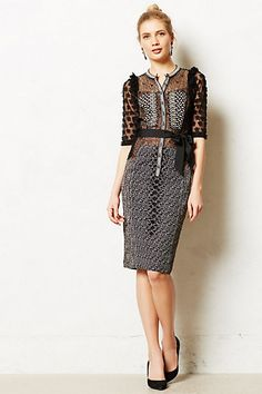 Byron Lars Beauty Mark Black Anthropologie Beguile By Allusione Sheath Knee Length Cocktail Dress Size 0 (XS) Divas, Looks Style, My Style, Dress Outfits, Fashion Dresses, Women's Dresses, Party Dresses, Byron Lars, Lace Dress