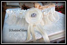 Wedding garter,Bridal garter,ivory lace garter,Organza lace garter, lace garter,brides gift, wedding accessories, linen garter