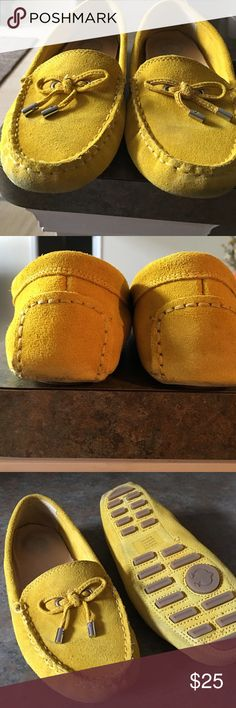 """C WONDER, MOCCASIN """"CASUAL STYLE """"SUEDE SHOE C Wonder , moccasin slip on shoe. This bright mustard yellow on yellow shoe is a sz. 7. Worn only a few times there is no damage just the normal signs of wear on the soles and around the edges of the soles. These are suede shoes so there is darkening at the toes and heels from normal wear.These yellow suede shoes have a matching tie-string bow with silver tone trim. Extremely comfortable to wear with an padded arched inner sole. The shoes are in…"""