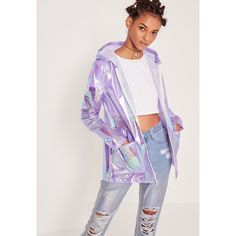 Missguided Holographic Zip Rain Mac Purple ($45) ❤ liked on Polyvore featuring outerwear, coats, lilac, zipper coat, hooded zipper coat, zip coat, purple coat and purple jersey