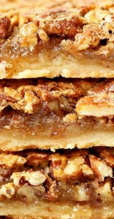 Easy Southern Pecan Pie Bars with Shortbread Crust Light Southern pecan pie bar with shortbread crust Pecan Desserts, Pecan Recipes, Cookie Desserts, Sweet Recipes, Cookie Recipes, Dessert Recipes, Bar Recipes, Fall Desserts, Eclairs