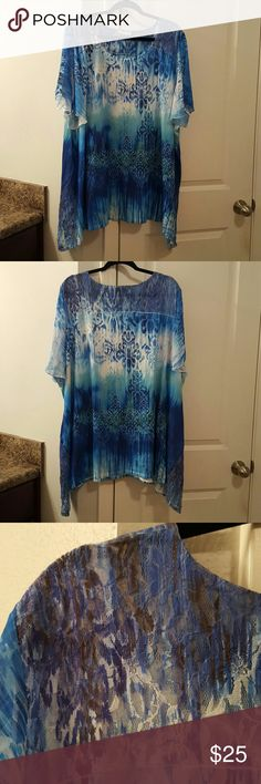 vibrant blouse avenue size 30/32, sheer sleeves, lace at hips and on shoulders and top of back, asymmetrical hemline, sparkly beads on front, only  worn few times Avenue Tops Blouses