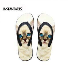 adc35f217b3485 INSTANTARTS Kawaii Cat Flip Flops for Women - Soft Rubber Casual Sandals.  Cat ShoesBeach ...