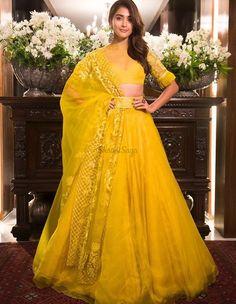 Latest monochrome lehenga perfect for engagement. Indian Wedding Outfits, Indian Outfits, Indian Attire, Indian Wear, Sangeet Outfit, Yellow Lehenga, Designer Bridal Lehenga, Lehenga Collection, Engagement Outfits