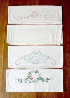 4 Vintage Pillow Cases Standard ~ Hand Embroidery / Crochet ~  ESTATE
