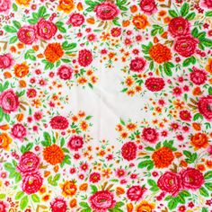 vintage 60s 1960s Beige Russian Floral Wool Vintage Scarf  Bright  pink green 1970s 70s FREE shipping on Etsy, $62.00