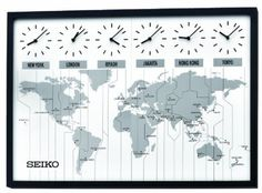 Always know the time around the world with the Seiko Contemporary Wall Map with 6 Time Zone Clocks. This modern, handsome wall art has a black wood frame and depicts a flattened map of the world. It showcases six clocks for different time zones and i Wall Clock Time Zones, Time Zone Clocks, Time Clock, Wall Clock Seiko, International Clock, Clocks Fall Back, World Time Zones, World Clock, Destinations