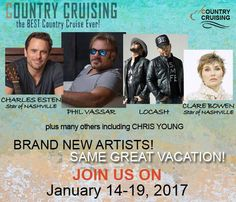 ☆♫☆  Our country music cruise festival at sea sails Jan 14, 2017 from Tampa > stops in Key West & Cozumel, Mexico > Tampa on Jan 19. Participating artists include Nashville stars CHARLES ESTEN & CLARE BOWEN. The country music hitmaker, piano–pounding powerhouse PHIL VASSAR will also be taking the stage on the cruise! Full line-up: countrycruising.com. Reservations: Khttps://dutchmen.rezmagic.com/Booking/Reservation/Start?tripID=3892