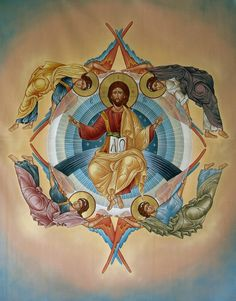 The first four Archangels (Michael, Gabriel, Raphael, Uriel) stand in the four corners of The Great Throne of God. A blessed Ascension to you all! Byzantine Art, Byzantine Icons, Catholic Art, Catholic Saints, Religious Icons, Religious Art, Four Archangels, Nativity Church, Religion