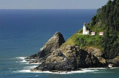 There is a great little beach with a view of Heceta Head Lighthouse in Oregon near the Sea Lion Caves. A lovely spot.