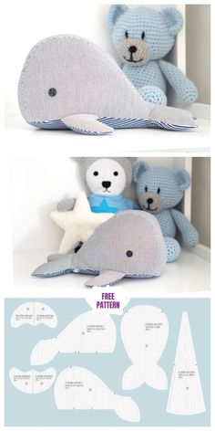 Stofftiere DIY Fabric Whale Plush Free Sewing Pattern - Small, Your Animal Sewing Patterns, Sewing Patterns Free, Free Sewing, Whale Pattern, Plush Pattern, Free Pattern, Sewing Stuffed Animals, Stuffed Animal Patterns, Homemade Stuffed Animals