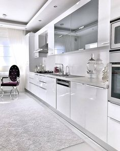 Image could contain: kitchen and interior White This fashionable design design, which produces hot Kitchen Room Design, Kitchen Cabinet Design, Modern Kitchen Design, Home Decor Kitchen, Interior Design Kitchen, Kitchen Cabinets, Modern Kitchen Interiors, Luxury Kitchens, Home Kitchens