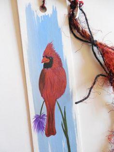 Cardinal Totem Original Folk Art Painting Bookmark by Jeanne Fry   ConsciousArtStudios - Painting on ArtFire