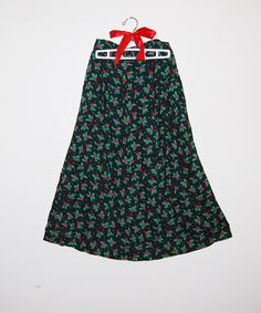 Vintage Skirt Winter Holly Berries on Midnight by ChristmasVintage, $14.50