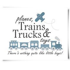 "FREE ""Planes, Trains, Trucks and Toys"" nursery printable from Chickadee Art and Company. http://www.chickadeeartandco.com/free-printables/"