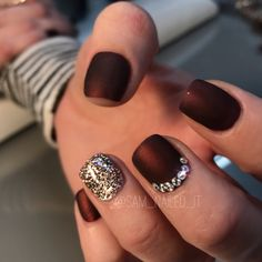 Maroon nails Matte nails Glitter nails  Short nails Rhinestone nails Bling nails