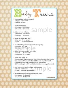 Baby Shower Trivia Game Baby Shower Trivia Games, Baby Shower Games,  Printable,
