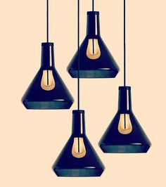 Plumen | Out of darkness comes light. Black Drop Top Shades & Black Drop Caps & Plumen 002 LED bulbs.