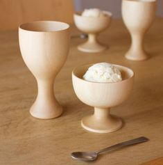 wooden dessert cup and goblet designed by rina ono and made by Takahashi Kougei