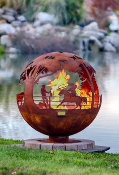 """Round Up 37"""" Ranch Steel Fire Pit Sphere with Flat Steel Base or Horseshoe Base by TheFirePitGallery on Etsy"""