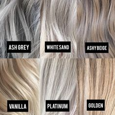 Blonde Color Tone Chart - All For Hair Color Balayage Gray Hair Highlights, Platinum Highlights, Heavy Highlights, Brown Blonde Hair, Toning Blonde Hair, Toner For Blonde Hair, Grey Blonde Hair Color, Cool Toned Blonde Hair, Blonde Hair Shades