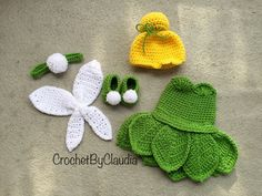 clothing etsy Crochet Tinker bell Inspired Costume/ Tinker Bell / Photography Prop/Made To Order Cute Crochet, Crochet For Kids, Crochet Crafts, Yarn Crafts, Crochet Dolls, Crochet Projects, Knit Crochet, Knitted Dolls, Diy Crafts