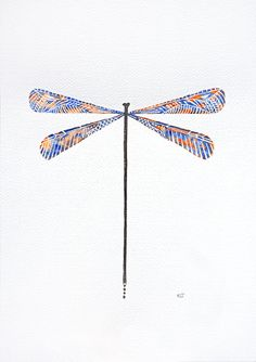Original art dragonfly watercolor painting by VApinx by VApinx, $39.00