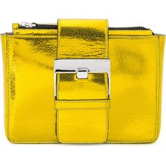 Sergio Rossi buckled clutch (1170 LYD) ❤ liked on Polyvore featuring bags, handbags, clutches, metallic, yellow purse, metallic clutches, buckle purses, sergio rossi handbags and buckle handbags