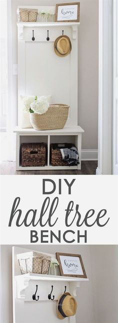 Entryway Hall Tree Bench DIY DIY Entryway hall tree bench, perfect for providing small space organization in entryways, mudrooms, & hallways! Woodworking Projects Diy, Woodworking Bench, Woodworking Articles, Woodworking Quotes, Intarsia Woodworking, Woodworking Magazine, Popular Woodworking, Woodworking Techniques, Woodworking Shop