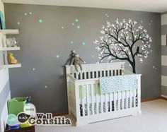 This dreamy tree with white leaves and with owl sitting on the tree branch watching the night sky is a wonderful addition to your babies nursery walls. Indulge your little one�s imagination with this stunning vinyl wall decal set perfect for any nursery o
