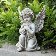 "Kneeling Praying Angel Cherub Serene Garden Statue 12"" ht"