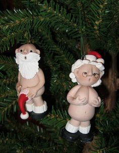 Mr. & Mrs. Naughty Santa Claus Polymer Clay Christmas Ornaments. $21.95, via Etsy.