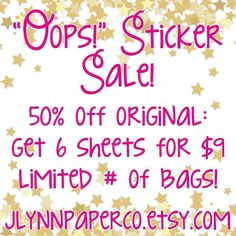 "I have 2 ""oops!"" Grab bags on sale. 50% off the original price. #stickers #plannerstickers #planner #erincondren #erincondrenlifeplanner #eclp #jlynnpaperco #etsy #planneraddict #plannerlove #plannerjunkie #valentines #valentinesday #sale #etsysale #oops #oopsstickers #grabbag"