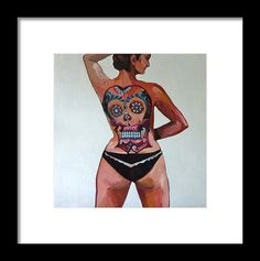 Portrait Framed Print featuring the painting Self Portrait With Tattoo by Carmen Stanescu Kutzelnig Framed Tattoo, Art Inspo, Fine Art America, Framed Prints, Wonder Woman, Superhero, Portrait, Tattoos, Painting