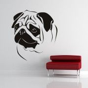 Add character to your room with these unique Pug Wall Stickers. Choose one of our huge collection for a custom wall sticker that's perfect for you. Wall Stickers Animals, Custom Wall Stickers, Animal Wall Decals, Bird Stencil, Stencil Art, Animal Paintings, Animal Drawings, Wall Paintings, Pug Art