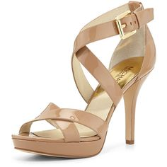 Michael Kors Platform Sandals Nude color leather upper sandal with elastic  ankle closure 9a8e5bab5ecc