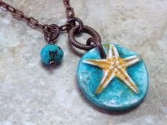 Teal starfish necklace Polymer clay starfish pendant by ktetzlaff, $26.00