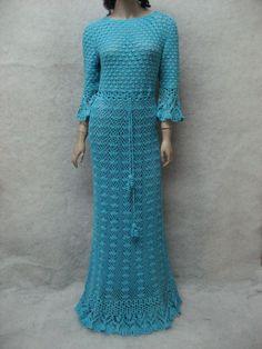 Crochet maxi dress handmade maxi dress Crochet turquoise lacy dress