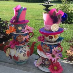 Pair of Two Mad Hatter Whimsical Stacked by EdieSChicCrafts