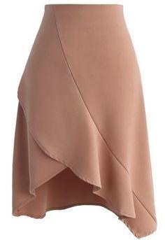 9b7a359c17 Nonpareil Frill Hem Skirt in Tan - New Arrivals - Retro