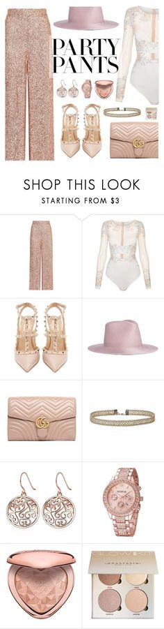 """#PolyPresents: Fancy Pants"" by dora04 ❤ liked on Polyvore featuring Temperley London, La Perla, Valentino, Janessa Leone, Gucci and Too Faced Cosmetics"