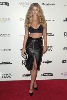 Nina Agdal Photos - SI Swimsuit model Nina Agdal at the VIBES by Sports Illustrated Swimsuit 2017 launch festival on February 2017 in Houston, Texas. - VIBES By Sports Illustrated Swimsuit 2017 Launch Festival - Day 1 Nina Agdal, Sexy Outfits, Black Outfits, Si Swimsuit 2017, Sports Illustrated Swimsuit 2017, Black Leather Skirts, Victoria, Glamour, Black Crop Tops