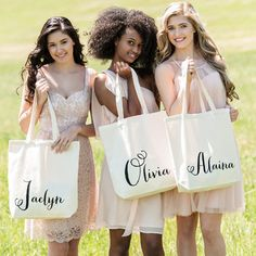 Personalized Calligraphy Name Tote - A great gift for the  Bridesmaids to keep all of their stuff together for the big day!