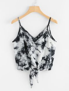 Women Sexy V-Neck Strap Camis Vest Crop Top Fashion Summer Leisure Sleeveless Beach Bowknot Print Blousa Shirt Tank Tops Clothes Tie Dye Outfits, Crop Top Outfits, Cute Casual Outfits, Stylish Outfits, Tie Dye Clothes, Clothes Refashion, Trendy Dresses, Diy Clothes, Girls Fashion Clothes