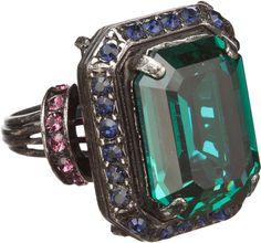 Lanvin Tutti Frutti Emeraldcut Crystal Cocktail Ring