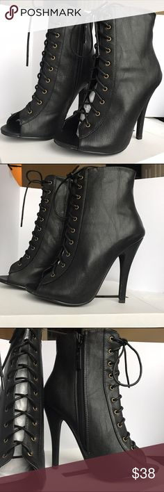 Lace-Up Ankle Booties ⭐️NEW ARRIVAL⭐️ BRAND NEW! Super cute for the fall 🍂  Vegan leather Metal eyelet lace up Open toe front Stiletto heel Side zipper closure Shaft height: 9 in. Opening: 9 in. Heel height: 4.5 in. *box included* Shoes Ankle Boots & Booties