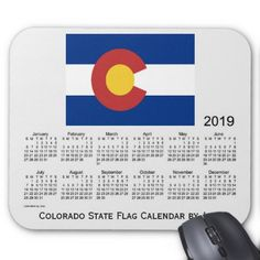 2019 Colorado State Flag Calendar by Janz Mouse Pad - birthday diy gift present custom ideas
